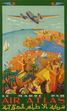 J HENAUT 1947 LE MAROC PAR AIR ATLAS 99,5X61,5 PERCEVAL by estampemoderne.fr, via Flickr