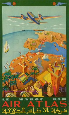 J HENAUT 1947 LE MAROC PAR AIR ATLAS 99,5X61,5 PERCEVAL by estampemoderne.fr, via Flickr