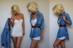 long button down over a dress, so cute. Love this!