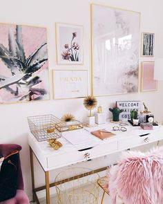 Pink and gold office