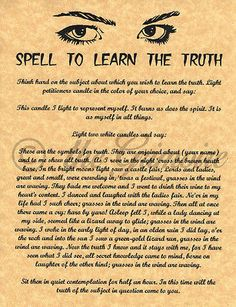 SPELL TO LEARN THE TRUTH, Book of Shadows Spell Page, Wicca, Witchcraft