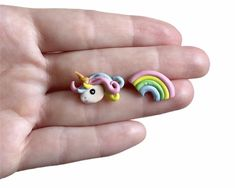 Cute Rainbow Unicorn Stud Earrings // Cute Asymmetrical | Etsy Sister Gifts, Gifts For Wife, Gifts For Her, Cute Polymer Clay, Cute Clay, Handmade Shop, Handmade Items, Handmade Gifts, Boho Hippie