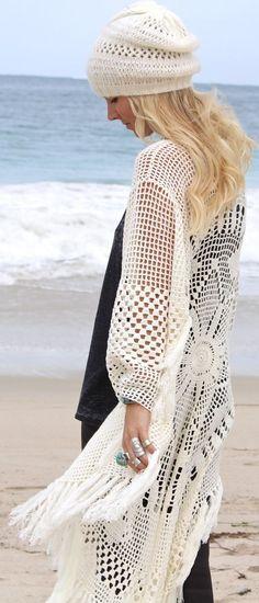 White Women's Summer Crochet Beanie