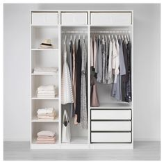 18 Ideas for bedroom closet doors sliding ikea pax Ikea Pax Wardrobe, Small Wardrobe, Small Closets, Wardrobe Storage, Wardrobes For Small Bedrooms, Double Wardrobe, White Wardrobe, Ikea Wardrobe Closet, Ikea Closet Hack