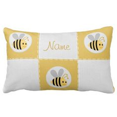 Personalize it! Bumble bee quilt patch pillow-Rectangle throw pillow  -see all coordinating products in our shops www.zazzle.com/drapestudio and www.cafepress.com/drapestudio and www.Etsy.com/shop/drapestudio or our main site www.drapestudio.com