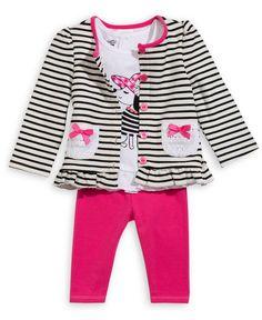 Nannette Baby Girls' 3-Piece Jacket, Top & Leggings Set