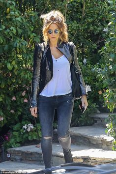 Cool chick: Kate Beckinsale stepped out in a chic biker outfit at a studio in Santa Monic...