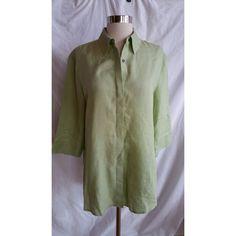 NORDSTROM Size M Green Button Down Shirt Top Blouse 100% Linen #Nordstrom #ButtonDownShirt