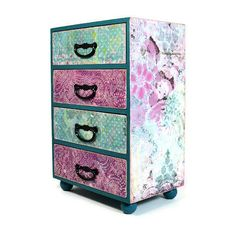 Large wood jewelry box, decoupage jubilee pink and teal collage 384  | artbysunfire - Woodworking on ArtFire