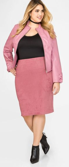 Plus Size Microsuede Pencil Skirt