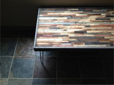Mosaic Coffee Table - Reclaimed Upcycle Rustic Wood with Steel Hairpin Legs, via Etsy.