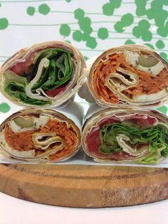 #KamutRoll crema di asparagi, tofu alle olive, carote, gomasio e olio; //crema di zucchine e parmigiano, salamino, pomodoro e lattuga.