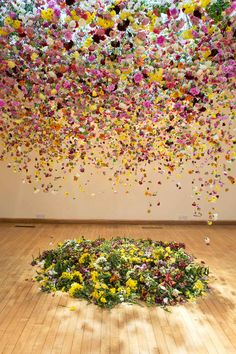 hanging flower installations by London-based artist Rebecca Louise Law