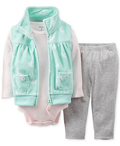 Carter's Baby Girls' 3-Piece Micro-Fleece Vest, Bodysuit & Leggings - Kids Baby Girl (0-24 months) - Macy's