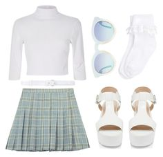 """""""Chicnova pleated skirt in blue"""" by gaaras-leaf on Polyvore featuring Chicnova Fashion, Forever New, Accessorize and Oscar de la Renta"""