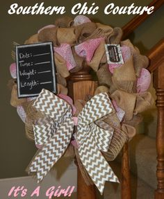 It's a GIRL!!! Burlap Baby Wreath- Perfect for Hospital Door and Nursery Door. Click to order on Etsy.