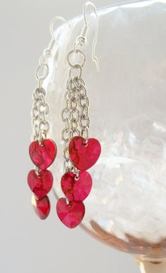 Red Heart Cascade Earrings on Etsy @SimplySweetHome