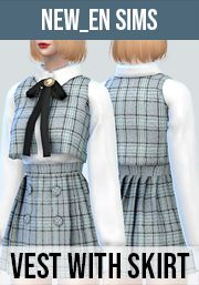 Vest with Skirt Outfit by Newen Los Sims 4 Mods, Sims 4 Game Mods, The Sims 4 Pc, Sims 5, Sims 4 Mods Clothes, Sims 4 Clothing, Sims 4 Dresses, Sims 4 Outfits, Sims 4 Nails