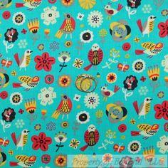 BonEful FABRIC FQ Cotton Quilt Blue Aqua Rain*Bow Kid Flower Children Folk Art L