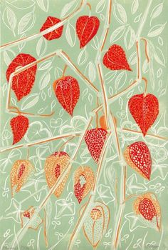 """""""Physalis"""" by Alison Deegan. Linocut on Paper, Subject: Flowers and plants, Impressionistic style, From a limited edition of 24, Signed and numbered on the front, This artwork is sold unframed, Size: 34 x 22 x 0.1 cm (unframed), 13.39 x 8.66 x 0.04 in (unframed), Materials: hand carved lino and oil based ink"""
