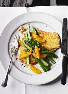 Crumbed haddock with asparagus salad