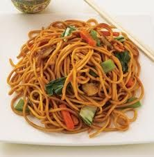Chinese lo mein noodles. The closest I have tasted to panda express. I used spaghetti, added soy sauce, bean sprouts, and green onions