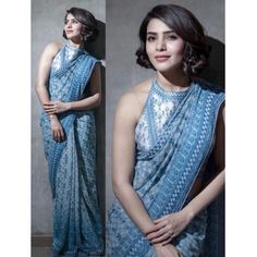 Style Array Present Bollywood Designer Sky BlueColor Silk with Banglori Blouse Saree. Buy This Attractive Look Bollywood Designer Sky BlueColor Silk with Banglori Blouse Saree Bollywood Saree, Bollywood Fashion, Saree Fashion, Ethnic Fashion, Indian Fashion, Indian Dresses, Indian Outfits, Saris Indios, Stylish Outfits