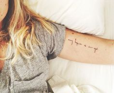 My hope is in god tattoo. Script. Small and simple tattoo. Love the text.!