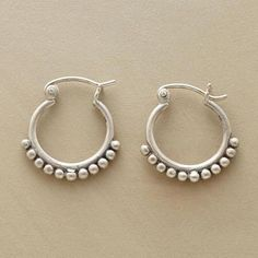 """SILVER BEAD HOOPS - In these sterling silver bead hoop earrings, dainty sterling beads cling to sterling hoops, defining a look that will fast become your everyday go-to favorite. Exclusive. 3/4""""L."""