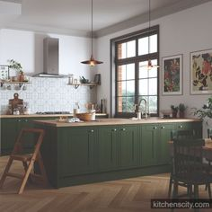 Your kitchen needs to be one of the cleanest areas in your house.(READ MORE) Our third nomination for comes from the styling team who chose this gorgeous green kitchen as their. Dark Green Kitchen, Green Kitchen Cabinets, New Kitchen, Shaker Kitchen, Kitchen Interior, Kitchen Decor, Küchen Design, Design Blog, Home Kitchens