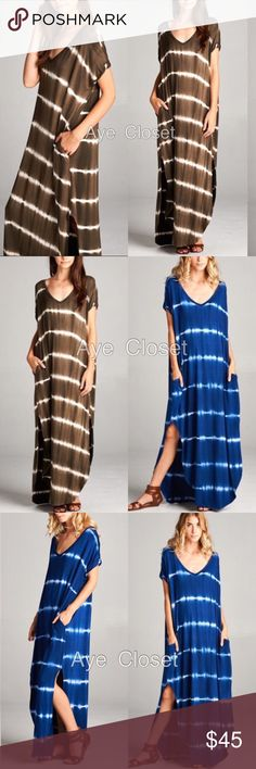 Maxi dress oversized fit tie dyed ombré silt OLIVE ⭕️this listing is for Olivd⭕️New Super comfy. Oversized, loose fit  v-neck long maxi dress featuring a horizontal stripe tie dyed ombré  pattern and side slits and side pockets. high quality stretchy fabric.  2 colors to choose from : (Royal blue / white tie dye) OR (OLIVE/white tie dyed) in my closet. Model is wearing size SMeasurements takes from size SLength: 59Chest: 23  ⭕️price firm unless bundled ⭕️ Dresses Maxi