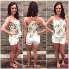 """More Flower To You #MFY4183 This flowy floral tank in blues, white, and greens paired with an adorable pair of white shorts screams """"SUMMER!"""" Floral Tank Top: $32 Shorts: $68 Bracelet: $18 Sandals: $45 To add this adorable floral outfit to your closet, fill out this form athttp://form.jotform.us/form/42265697798173. For immediate assistance call us at 320-774-1533! We ship nationwide! Don't forget to follow us on Facebook at www.facebook.com/ApricotLaneStCloud and on Instagram at…"""