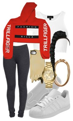"""trillfiger"" by kushxkisses ❤ liked on Polyvore featuring adidas, NYDJ, Topshop, Marc by Marc Jacobs, Monday and Michael Kors"
