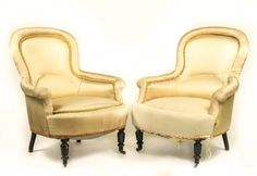 Pair of Victorian Upholstered Low Chairs : Lot 918. Hammer Price: $600