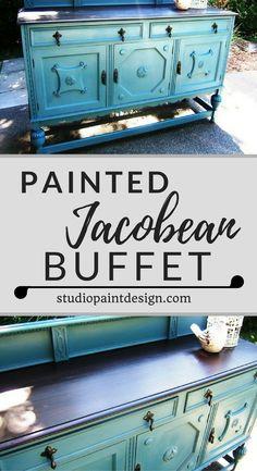 Painted Jacobean Buffet Sideboard, Annie Sloan Chalk Paint, Java Gel Stain, Painted Furniture, Distressed, DIY Ideas Inspirations #paintedfurniture#paintedbuffet#paintedsideboard#DIY#Bluebuffet#Ideas#distressed