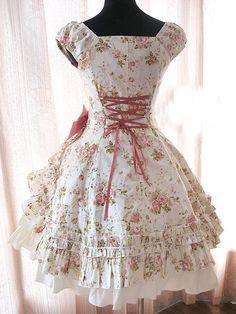Floral One Waist Side Opened Lolita Dress $79.99 - Lolita Clothing - Lolita Dress - Trustedeal.com