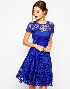 Ted Baker Lace Dress with Sheer Floral Overlay - Bright blue