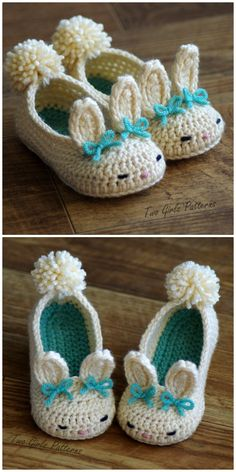 You will love these Bunny Slippers Crochet Patterns and we've included baby, toddler, big kid and adult sizing. I just love these adorable little bunny slippers for toddlers! What a lovely make. czesc 1 na Stylowi. Crochet Toddler, Crochet Girls, Crochet Baby Clothes, Crochet Baby Shoes, Easter Crochet, Crochet Slippers, Cute Crochet, Crochet For Kids, Crochet Crafts
