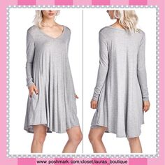 """Gray Pocket V-Neck Shift Dress Gray stretch infused pocket v-neck shift dress will offer a  touch of breezy appeal! Features a relaxed fit. MADE IN USA.  *M (8-10) *Chest 36""""-38""""; Waist 28""""-30""""; Hips 38""""-40"""" *96% rayon/4% spandex *hand wash *Bundle discounts, No trades, Smoke-Free Laura's Boutique Dresses"""