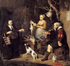 Gabriel Metsu (Dutch Baroque Era Painter, 1629-1667) The Poultry Woman