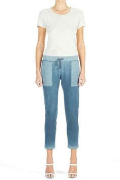 """Slim sweatpant with side pockets and ribbed waistband with a drawstring.    Size small measures: 15"""" waistband; 38.5"""" length   Slim Sweatpant Slate by George Loves . Clothing - Bottoms - Pants & Leggings - Joggers Westchester County, New York"""