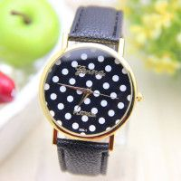 Geneva 12 Colour Women Ladys Brand Geneva Leather Band Watch With Stylish  Polka Dot Face Gold Platinum Coll Dial Window Material ... fd5ef50b064