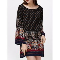 Bell Sleeve Ornate Print Ethnic Style Women Dress — 10.29 € -----Size: S Color: BLACK