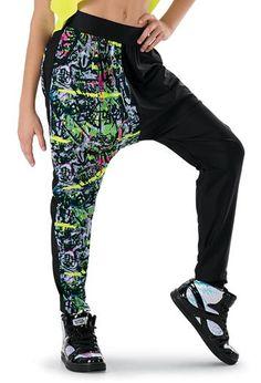 Make a statement in graffiti harem pants. Hip Hop Outfits, Dance Outfits, Hip Hop Costumes, Costumes 2015, Dance Costumes Lyrical, Lyrical Dance, Dance Fashion, Ladies Dress Design, Dance Wear