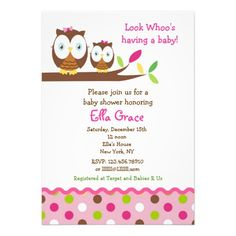 Having an owl themed baby shower? Cute little Owls Baby Shower Invitations for a girl in pinks, green and brown. #babyshowerinvitations