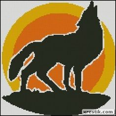 Wolf 3 scheme download monochrome embroidery, animal wolf