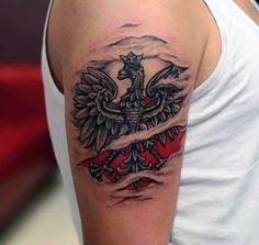 Polish Eagle Ripped Skin Arm Tattoos For Men