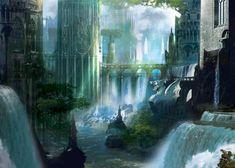 fantasy water falls   Trees,fantasy fantasy trees lights shadows waterfalls rivers 1148x820 ...