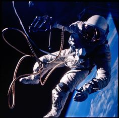 ": In 1965, forty years ago on June 3rd, astronaut Edward White made the first U.S. spacewalk. Tethered to his Gemini IV capsule, White is pictured above holding a compressed gas ""zip gun"" for maneuvers in his right hand. His spacewalk began over the Pacific Ocean near Hawaii and ended 23 minutes later above the Gulf of Mexico."