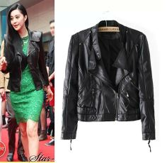 Zippered Black Faux Leather Jacket